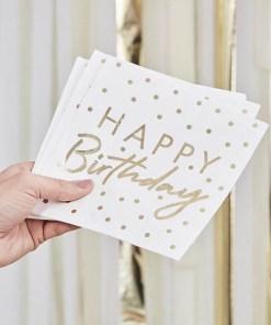 Servietten HAPPY Birthday + Punkte, weiß Foliendruck gold, 16er Pack, 33 x 33 cm, Bild nr 2