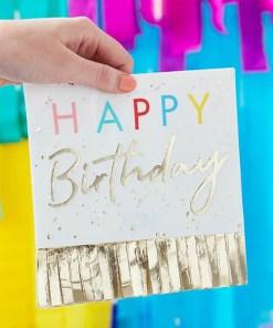 Servietten ''HAPPY Birthday'', weiß, Fransen gold, Schrift bunt und gold, 33 x 33 cm, Dekobeispiel