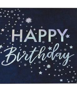 """Servietten Stargazer """"HAPPY Birthday"""" + Sterne, Iris-Silberdruck, 16er Pack, 33 x 33 cm"""