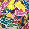 Tischkonfetti, Schriftzug-Cutout 'Happy Birthday', Papier gelb-orange-tuerkis-pink, Verp. 8,5x8,5cm, Detail