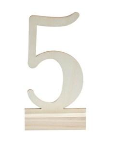 Tischnummern 1 - 12, Holz weiß, freistehend auf Fuß, H circa 15cm