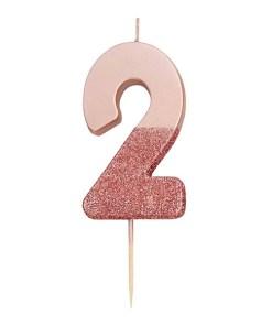 Zahlenkerze auf Holzstab, lack-rosegold, unten pink Glimmer, 2