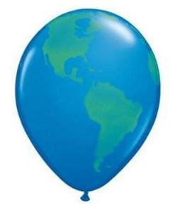 Globus, Weltkugel, Latexballon, 28 cm