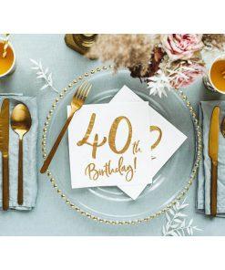40th Birthday, Servietten, weiß mit goldenem Schriftzug, dreilagig, 20 Stk., 33 x 33 cm, Dekobeispiel