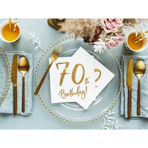 70th Birthday, Servietten, weiß mit goldenem Schriftzug, dreilagig, 20 Stk., 33 x 33 cm, Dekobeispiel
