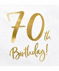 70th Birthday, Servietten, weiß mit goldenem Schriftzug, dreilagig, 20 Stk., 33 x 33 cm