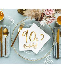 90th Birthday, Servietten, weiß mit goldenem Schriftzug, dreilagig, 20 Stk., 33 x 33 cm, Dekobeispiel