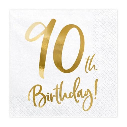 90th Birthday, Servietten, weiß mit goldenem Schriftzug, dreilagig, 20 Stk., 33 x 33 cm