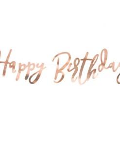 Banner ''Happy Birthday'' Papier, Rosegold, 16,5 x 62 cm