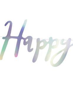 Banner, ''Happy Birthday'', Papier, irisierend, 16,5 x 62 cm, Detail