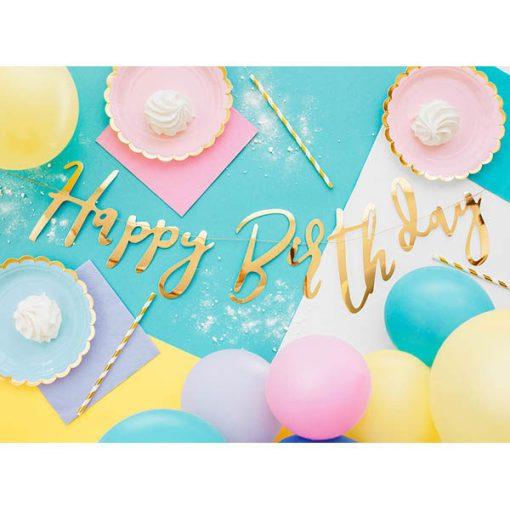 Buchstaben-Girlande ''Happy Birthday'', met.gold, 16,5 x 62cm, Dekobeispiel 2
