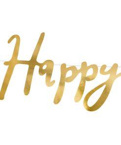 Buchstaben-Girlande ''Happy Birthday'', met.gold, 16,5 x 62cm, Detail