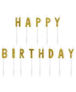 Buchstaben-Kerzen mit Stecker HAPPY BIRTHDAY, glittergold, weiß, H 2,5 cm