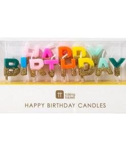 Buchstaben-Kerzenstecker HAPPY BIRTHDAY, bunt, unten Goldglitter, Packung