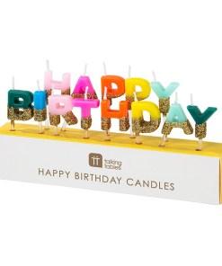 Buchstaben-Kerzenstecker HAPPY BIRTHDAY, bunt, unten Goldglitter