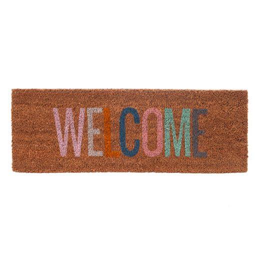 Fussmatte, Kokos, braun, mit Schriftzug ''Welcome'', bunt, L 75cm x B 26cm
