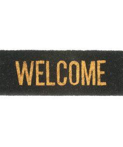 Fussmatte, Kokos, schwarz, mit Schriftzug ''Welcome'', gold-bronze, glitzernd, L 75cm x B 26cm