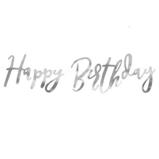 Girlande ''Happy Birthday'', Pappe, silber, 16,5 x 62 cm