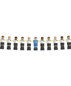 Girlande Tischfussballspieler im Deutschlandtrikot, 11 Spieler, Papier, 24 cm x L 6 m