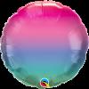 Jewel Ombre, pink-rosa-blau-gruen Farbverlauf, Folienballon rund, 45cm