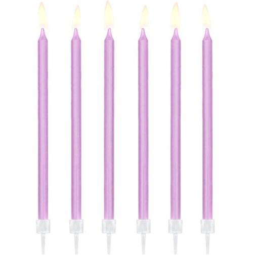 Kerzen, 12er Pack, lila, 14 cm