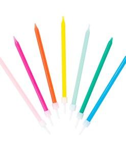 Kerzen, lang, duenn, 16er Box, rosa, mint, gruen, blau, neonpink, neonorange, D 0,5 H 10 cm
