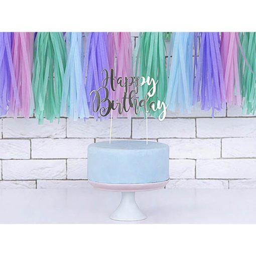 Kuchen Topper ''Happy Birthday'', silber, 22,5 cm, Dekobeispiel 2