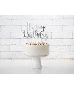 Kuchen Topper ''Happy Birthday'', silber, 22,5 cm, Dekobeispiel