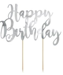 Kuchen Topper ''Happy Birthday'', silber, 22,5 cm