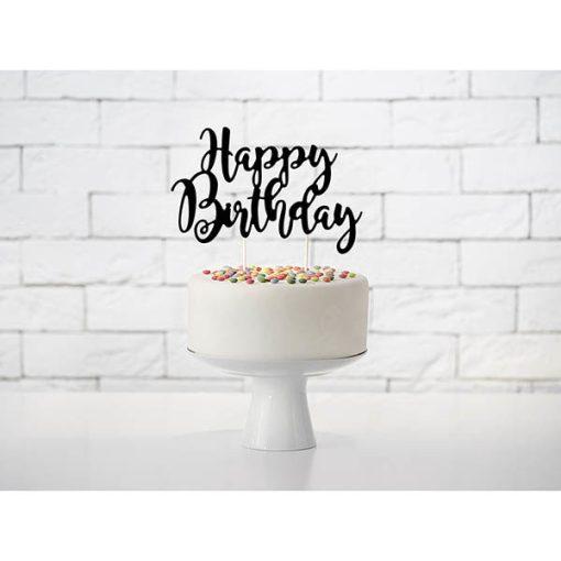 Kuchentopper ''Happy Birthday''-Schriftzug, schwarz, 22,5cm, Dekobeispiel