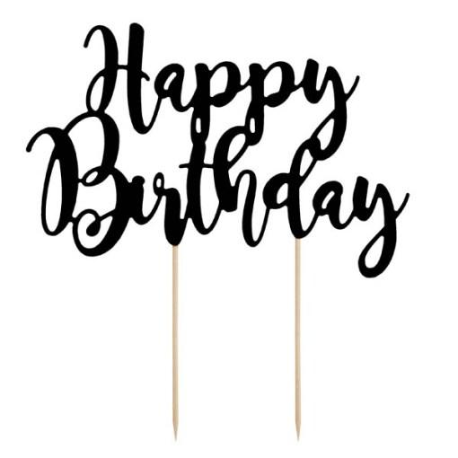 Kuchentopper ''Happy Birthday''-Schriftzug, schwarz, 22,5cm