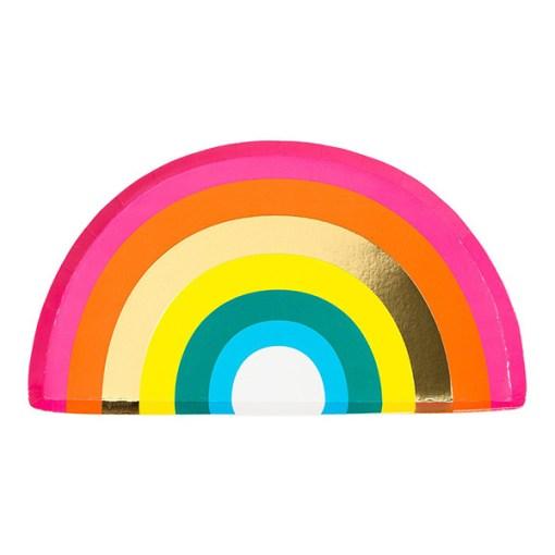 Pappteller in Regenbogenform, bunt, gold, 26 x 14,5 cm, 12er Pack, ein Teller