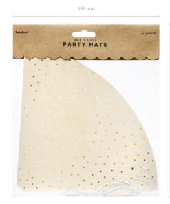 Partyhuete zum Zusammenstecken, Pappe creme, Puenktchen gold, 6er Pack, D 9,5 H 21 cm, Packung