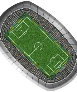 Partyteller ''Fussball'', oval, Motiv Fussballstadion, 8er Pack, Pappe, L 27,5 x 18 cm