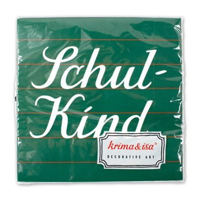 Servietten ''Schulkind'', Tafel gruen, 20er Pack, 33 x 33 cm, Packung
