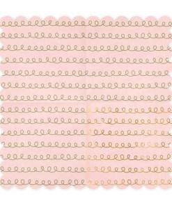 Servietten ''Tracing Patterns'', Wellenrand, puderrosa, Goldkringel, 20er Pack, 32 x 32cm, aufgefaltet