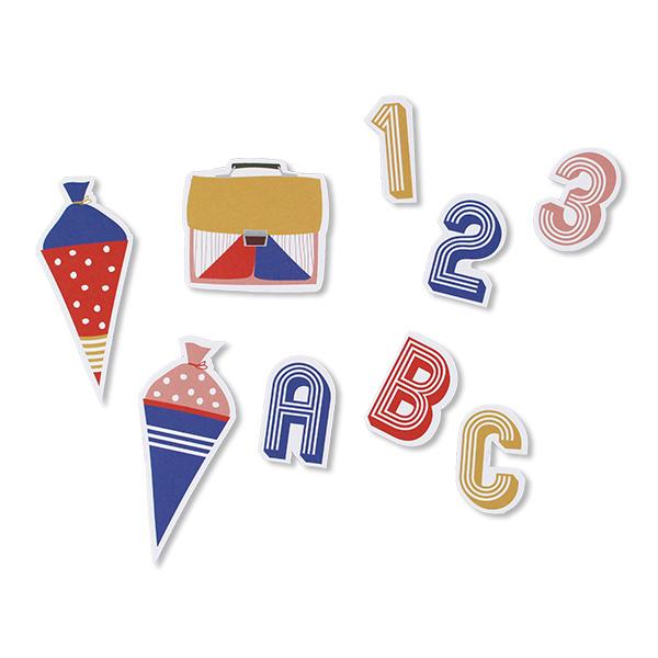 Tischkonfetti zur Einschulung mit Schultueten und Zahlen in bunt, 60 Teile, Streubeispiel