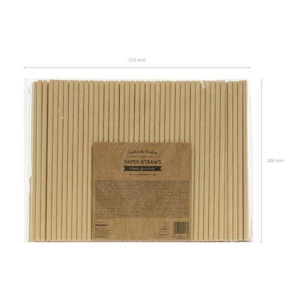 Trinkhalm, Kraftpapier naturbraun, 10er Pack, L 19,5cm, Packung