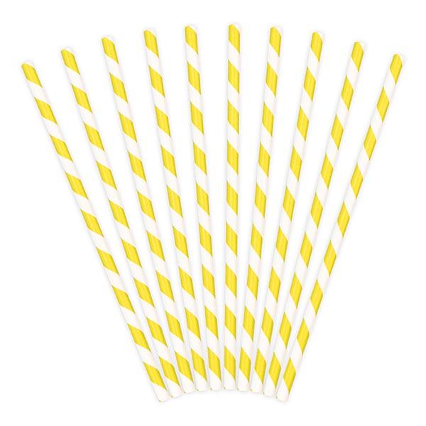Trinkhalme, Papier, Spirale weiss, gelb, 10er Pack, L 19,5 cm, gefaechert