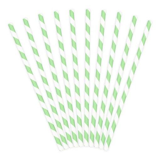 Trinkhalme, Papier, Spirale weiss, mint, 10er Pack, L 19,5 cm, gefaechert