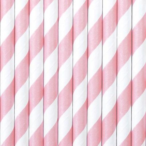 Trinkhalme, Papier, Spirale weiss, rosa, 10er Pack, L 19,5 cm