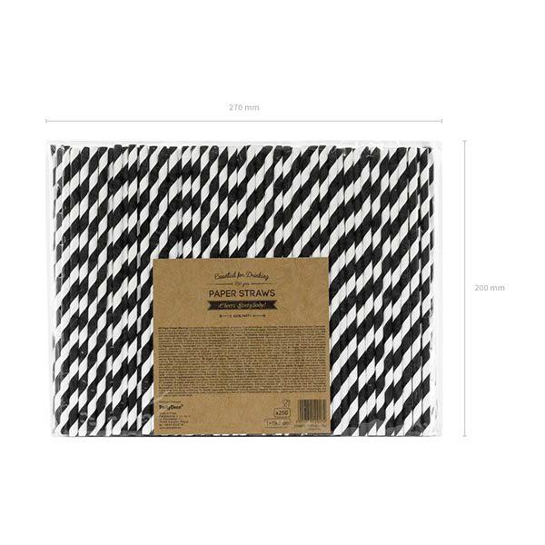 Trinkhalme, Papier, Spirale weiss, schwarz, 10er Pack, L 19,5 cm, Packung