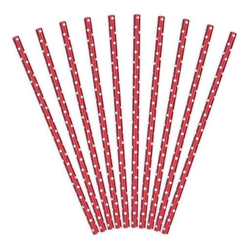 Trinkhalme, Papier, rot, Punkte weiss, 10er Pack, L 19,5 cm, gefaechert