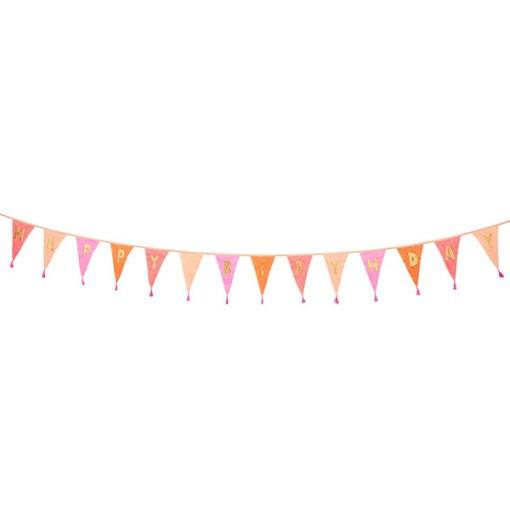 Wimpelkette HAPPY BIRTHDAY, Stoff Rosatoene, Goldstick, Wolltroddeln, 29 x 300 cm, lang