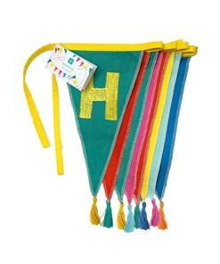 Wimpelkette HAPPY BIRTHDAY, Stoff uni-bunt, Stick bunt, Wolltroddeln, 29 x 300 cm, zusammengelegt