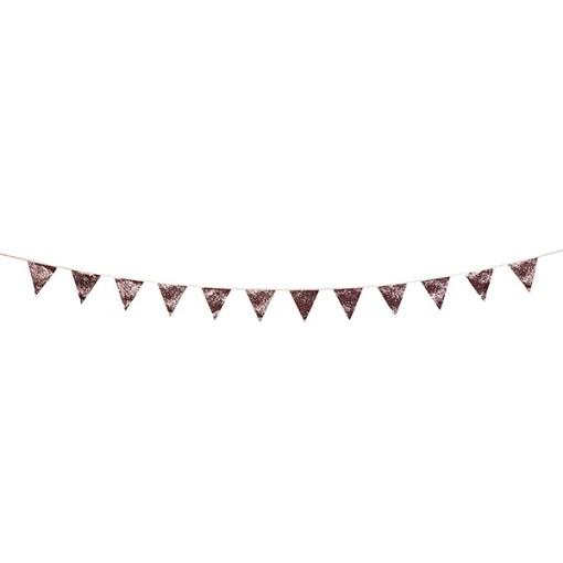 Wimpelkette glitter-rosa, Stoff, Satinband, 16x18cm, L 3 m, lang