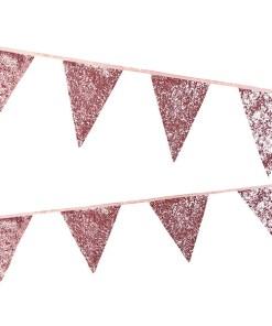 Wimpelkette glitter-rosa, Stoff, Satinband, 16x18cm, L 3 m