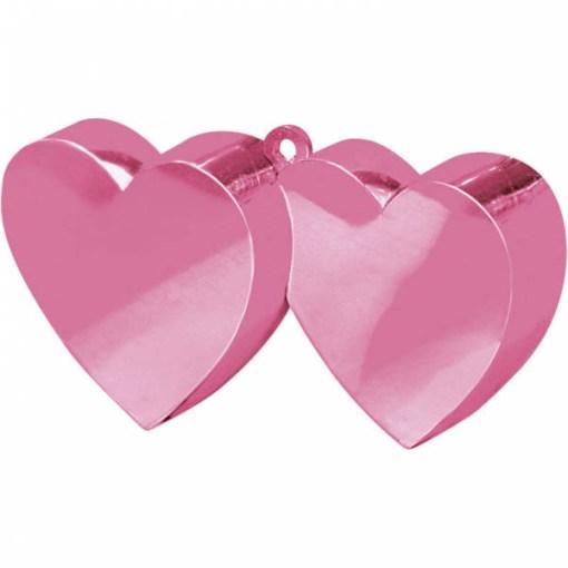 BALLONI, Ballongewicht Doppelherz, Plastik glaenzend rosa, 170g, 11 x 6 cm