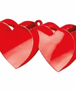 BALLONI, Ballongewicht Doppelherz, Plastik glaenzend rot, 170g, 11 x 6 cm