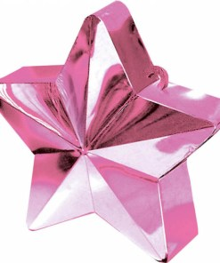 BALLONI, Ballongewicht Stern, Plastik glaenzend rosa, 150g, D 9 cm
